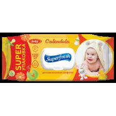 Влажные салфетки Super Fresh Calendula для детей и мам, с клапаном, 120 шт.