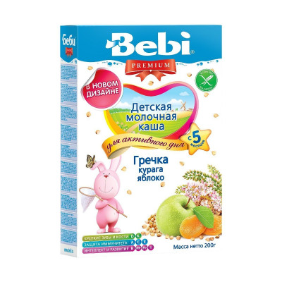 Детская молочная каша Гречка, курага, яблоко, 200 г  1002627 ТМ: Bebi Premium