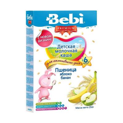 Детская молочная каша «Пшеница, яблоко, банан», 250 г. 144207 ТМ: Bebi Premium