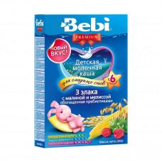Молочная каша 3 злака с малиной и мелиссой, 200 г  ТМ: Bebi Premium