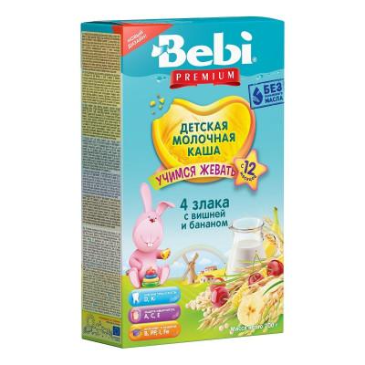 Детская молочная каша Bebi Junior 4 злака с вишней и бананом, 200 г. 1002463 ТМ: Bebi Premium