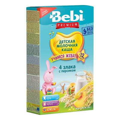 Каша молочная Bebi Premium 4 злака с персиком, 200 г 1008803 ТМ: Bebi Premium