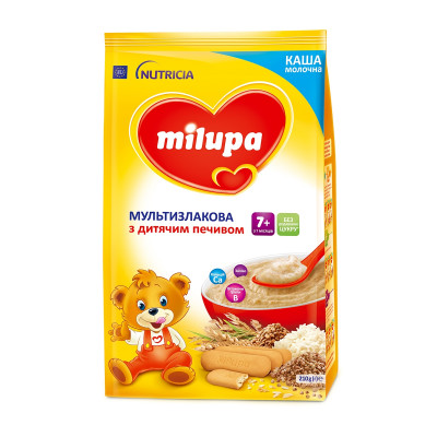 Каша молочная мультизлаковая с детским печеньем, 210 г 589860 ТМ: Milupa