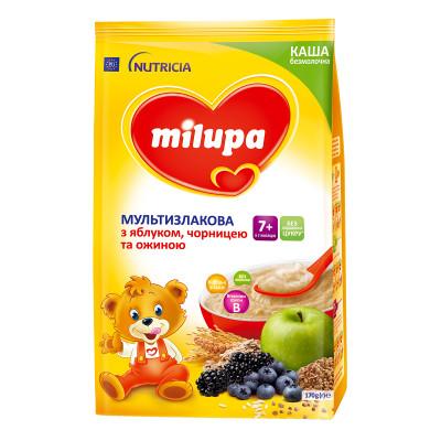 Каша мультизлаковая Milupa безмолочная с яблоком, черникой и ежевикой 170 г  ТМ: Milupa