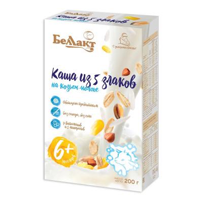 Каша на козьем молоке Беллакт Из 5 злаков с витаминами 200 г  ТМ: Беллакт