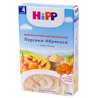 Каша молочная рисово-кукурузная Персик Абрикос 250 г 2982/2983 ТМ: HiPP