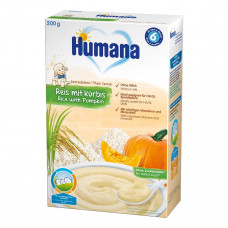 Каша Humana рисовая с тыквой, безмолочная, 200 г 77568 ТМ: Humana