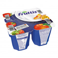 Йогурт Fruttis Сливочное наслаждение Клубника Персик-Маракуйя 4х125 г 732671 ТМ: Fruttis