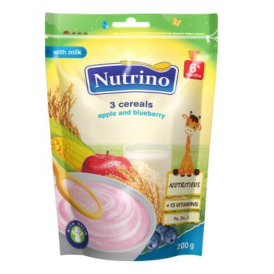 Каша Nutrino молочная 3 злака с яблоком и черникой 200 г  ТМ: Nutrino