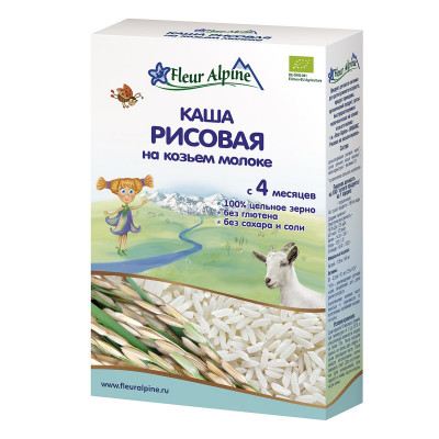 Каша на основе козьего молока Fleur Alpine Organic&Rice 200 г 1184016 ТМ: Fleur Alpine
