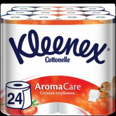 Набор трехслойной туалетной бумаги Kleenex Aromacare Сочная клубника, 24 рулона (3 уп. по 8 рулонов)
