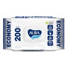Влажные салфетки Aura Family Освежающие, 200 шт.