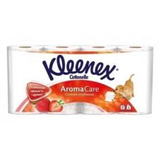 Трехслойная туалетная бумага Kleenex Aromacare Клубника, 8 рулонов