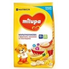 Молочная каша Milupa мультизлаковая с фруктами, хлопьями и рисовыми шариками, 210 г