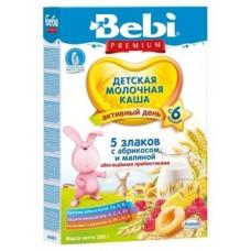 Молочная каша с пребиотиками Bebi Premium 5 злаков с малиной и абрикосом, 200 г
