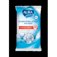 Антибактериальные влажные салфетки Aura, 15 шт.