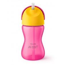 Чашка с трубочкой Philips Avent 12+, розовый с желтым, 300 мл (SCF798/02)