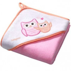 Полотенце с капюшоном BabyOno Сова, 76х76 см, розовый (137/01)