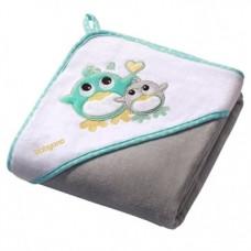 Полотенце с капюшоном BabyOno Пингвин, 76х76 см, серый (137/05)