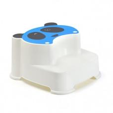 Ступеньки в ванную Babyhood Панда, белый с голубым (BH-502B)