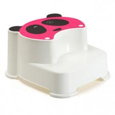 Ступеньки в ванную Babyhood Панда, белый с розовым (BH-502P)