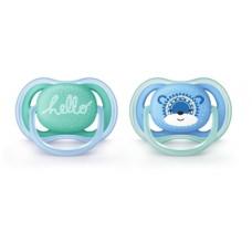 Силиконовая ортодонтическая пустышка Philips Avent Ultra Air, 6-18 мес., бирюзовый с голубым, 2 шт. (SCF342/22)
