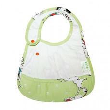 Слюнявчик ЭКО-ПУПС, с карманом, белый с зеленым (СЛ2б)