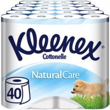 Набор трехслойной туалетной бумаги Kleenex Premium NaturalCare, 40 рулонов (10 уп. по 4 рулона)