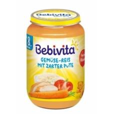 Мясо-овощное пюре Bebivita Овощи и рис с нежной индейкой, 220 г (Срок годности до 30.09.2020)