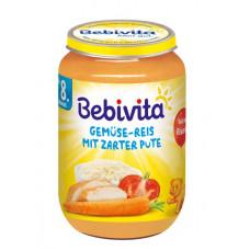 Набор мясо-овощных пюре Bebivita Овощи и рис с нежной индейкой, 1,320 кг (6 баночек по 220 г)