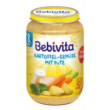 Набор мясо-овощных пюре Bebivita Картофель и овощи с индейкой, 1,320 кг (6 баночек по 220 г)
