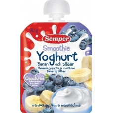 Пюре Semper Pouch Смузи из банана и черники с йогуртом, 90 г (срок годности до 27.07.2020)