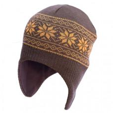 Шапка-шлем София Орнамент Снежинки, шерсть мериноса, р.50-54, коричневый с оранжевым (312-1)