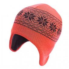 Шапка-шлем София Орнамент Снежинки, шерсть мериноса, р.50-54, оранжевый (312-9)