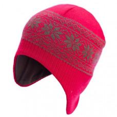Шапка-шлем София Орнамент Снежинки, шерсть мериноса, р.50-54, красный (312-4)