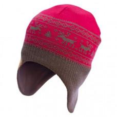 Шапка-шлем София Орнамент Олени, шерсть мериноса, р.50-54, красный с коричневым (312-3)