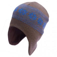 Шапка-шлем София Орнамент Снежинки, шерсть мериноса, р.50-54, коричневый с синим (312-2)