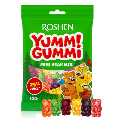 Желейные конфеты Roshen Yummi Gummi Mini Bear Mix 100 г 9100000082 ТМ: ROSHEN