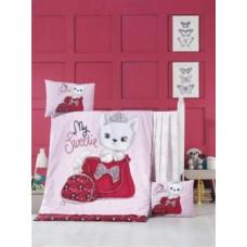 Комплект постельного белья LightHouse Tiny Cat, ранфорс, 150х100 см, розовый (44209)