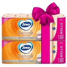 Набор трехслойной туалетной бумаги Zewa Deluxe Персик, 40 рулонов (2 уп. по 20 рулонов)