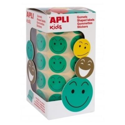 Лента с зелеными наклейками Apli Kids Смайлики, 20 мм (14373)