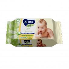 Влажные салфетки AURA Baby Sensitive, 60 штук  ТМ: Aura