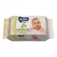 Влажные салфетки Aura Baby с клапаном 72 шт  ТМ: Aura