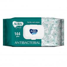 Влажные салфетки Aura Family с антибактериальным эфектом 144 шт 0450 СС ТМ: Aura