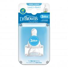 Соска Dr. Brown's 2-го уровня для бутылочки с узким горлышком 3+ мес 2 шт 322-INTL ТМ: Dr. Brown's