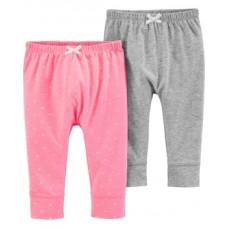 Штаны Carter's, хлопок, 3М, серый, розовый, 2 шт. (16640111)