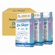 Одноразовые гигиенические пеленки Dr. Skipp Soft Line, супервпитывающие, 90х60 см, 30 шт. (3 уп. х 10 шт.)