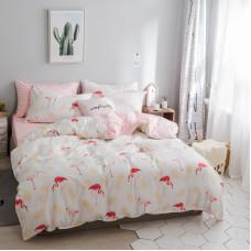 Комплект постельного белья Фламинго и ананас (двуспальный-евро)
