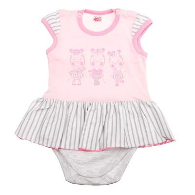 Боди-юбка Татошка Зебры розовый/серый, р. 74 16158 ТМ: Татошка