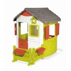 Дом лесника Smoby Нео с ставнями, угловой оградой и 2 цветниками (810501)